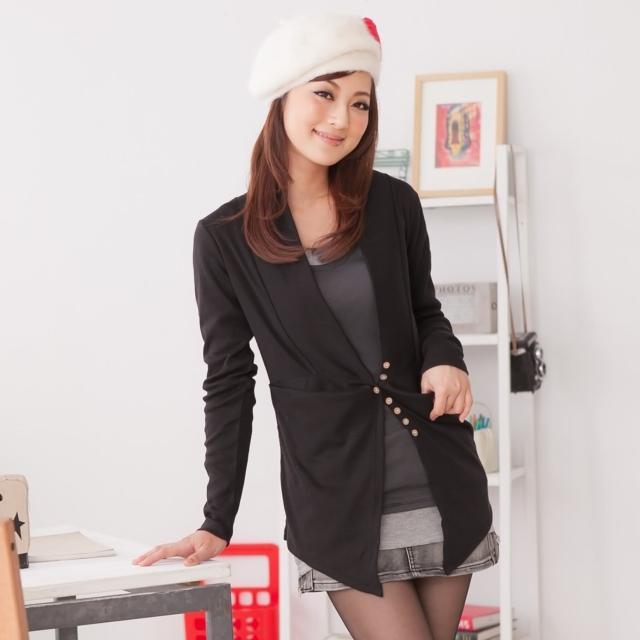 【衣心衣意中大尺碼】流行品味-韓妞修身剪裁長版西裝外套(紫-黑SO3A3527)