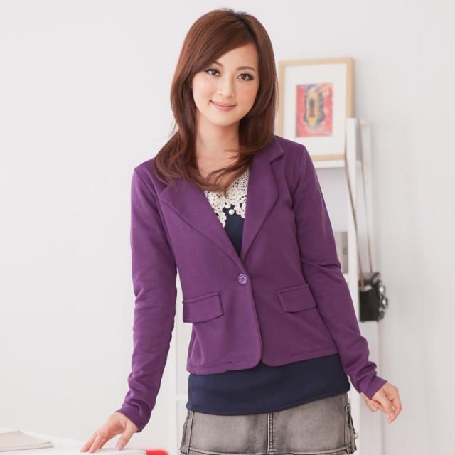 【衣心衣意中大尺碼】舒適好穿-俐落印象挺版西裝外套(黑-紫SL4A3529)