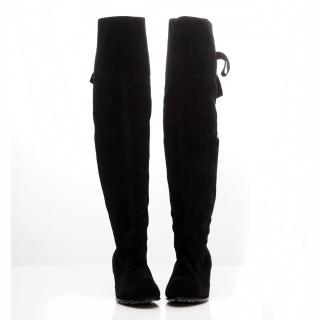 【☆Deluxe☆】新潮韓流-全真麂皮後綁帶低跟長筒靴(★黑)