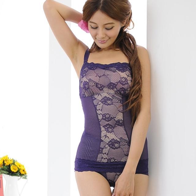 【安吉絲】輕鬆體感蕾絲小可愛兩截式塑衣褲組/M-XL(紫色)