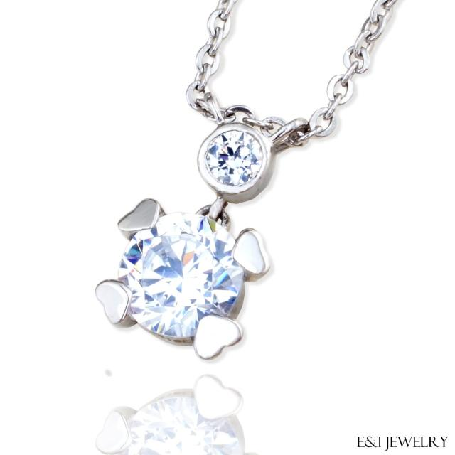 【E&I】-媚惑戀- 316L白鋼時尚造型美鑽項鍊