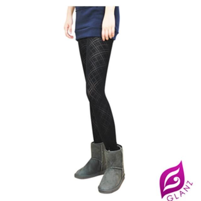 【GLANZ 格藍絲】台灣製320丹 韓版究極顯瘦塑身美腿內搭九分襪(經典透膚斜格紋)