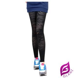~GLANZ 格藍絲~ 製320丹 究極顯瘦塑身美腿內搭九分襪 貴氣條紋小野貓