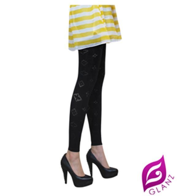 【GLANZ 格藍絲】台灣製320丹 韓版究極顯瘦塑身美腿內搭九分襪(臻愛典藏透膚印花)