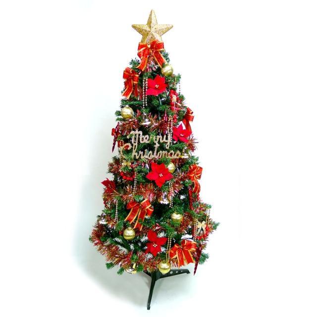 【聖誕裝飾品特賣】幸福6尺/6呎180cm一般型裝飾綠聖誕樹(+紅金色系配件+100燈鎢絲樹燈2串)