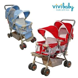 【vivibaby】雙人手推車(藍/紅)