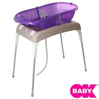 【OKbaby】嬰兒澡盆加專用折疊架(澡盆顏色隨機出)