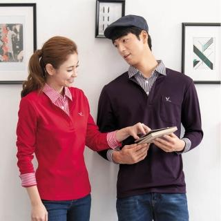 【LEIDOO】假兩件深紫菱形紋男款長袖POLO衫(53152)