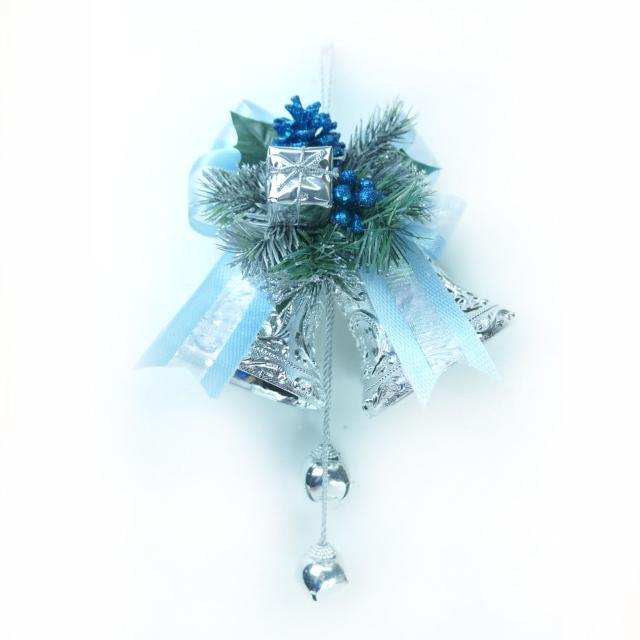 【聖誕裝飾特賣】4吋雙花鐘吊飾(藍銀色)