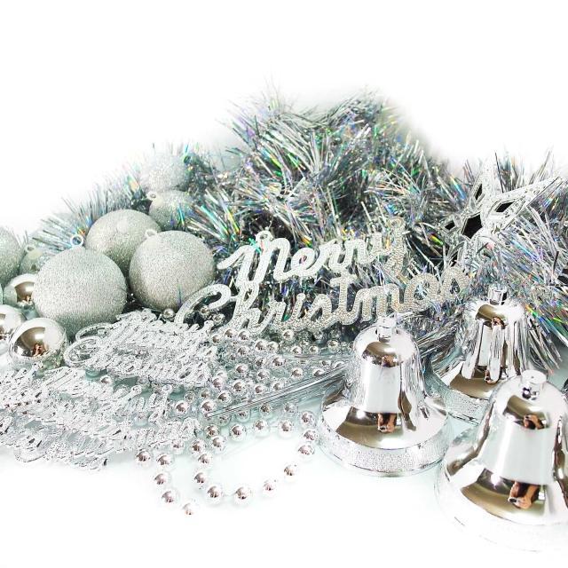 【聖誕裝飾特賣】聖誕裝飾配件包組合-純銀色系(2尺(60cm)樹適用(不含聖誕樹 不含燈)