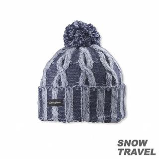 【SNOW TRAVEL】圓球防風保暖羊毛帽(藍色)
