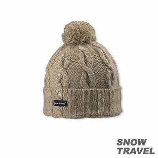 【SNOW TRAVEL】圓球防風保暖羊毛帽(駝黃)