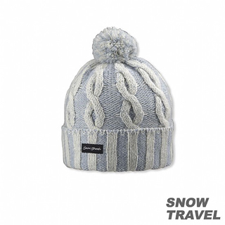 【SNOW TRAVEL】圓球防風保暖羊毛帽(淺藍)