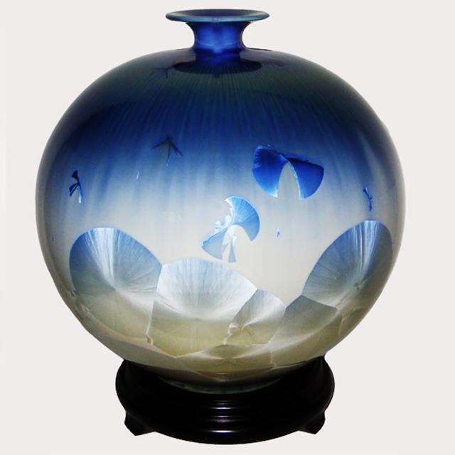 【台灣首席結晶釉大師彭文雄】開運陶源 結晶釉瓷器(曙光12inch圓球)