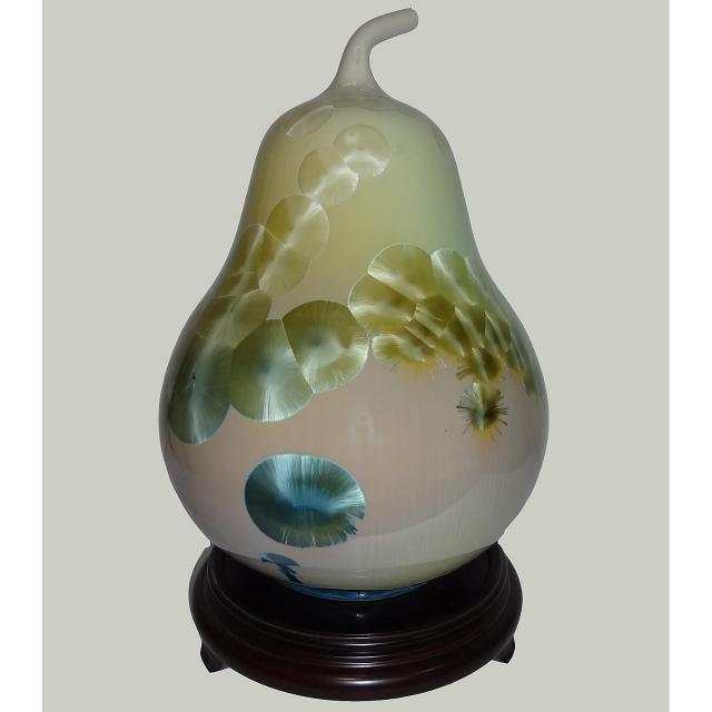 【台灣首席結晶釉大師彭文雄】開運陶源 結晶釉瓷器(11 inch福到 聚寶盆 葫蘆甕)