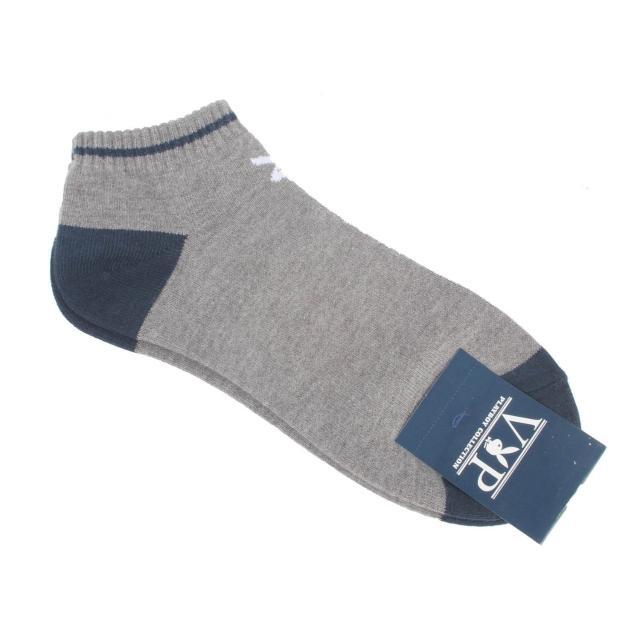 【PLAYBOY】素面兔子LOGO船型短襪(灰/藍色)