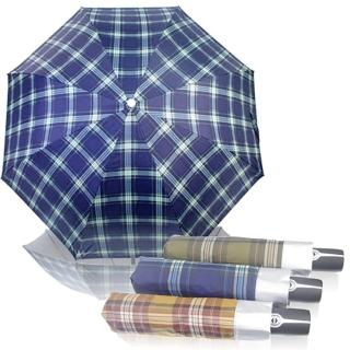 【wepon】時尚經典格紋自動開收三折傘(晴雨兩用)