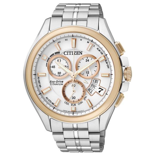 【CITIZEN】王牌紳士光動能太金屬腕錶(玫瑰金白 BY0054-57A)