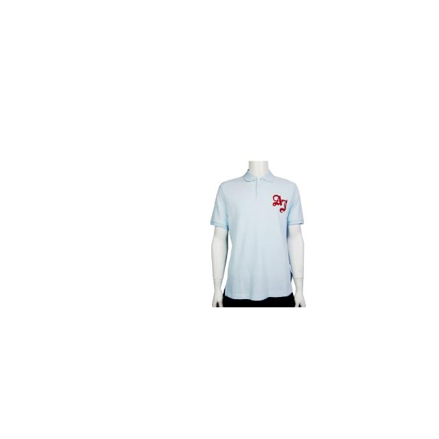 【ARMANI JEANS】造型LOGO刺繡POLO男衫(淺藍)
