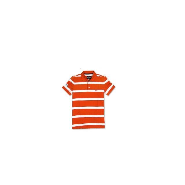 【ARMANI JEANS 】粗條紋短袖POLO男衫(橘白)