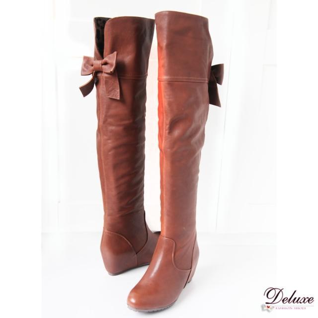【☆Deluxe☆】韓版熱銷款-全真小羊皮/麂皮內增高過膝膝長靴(黑)
