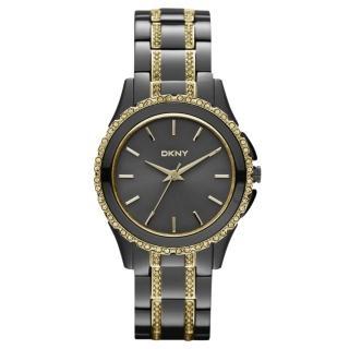 【DKNY】浪漫星河晶鑽時尚腕錶(鐵灰金 NY8700)