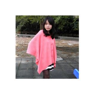 【Lus.G】首爾街頭鈕扣型厚披肩圍巾(糖果桃粉)