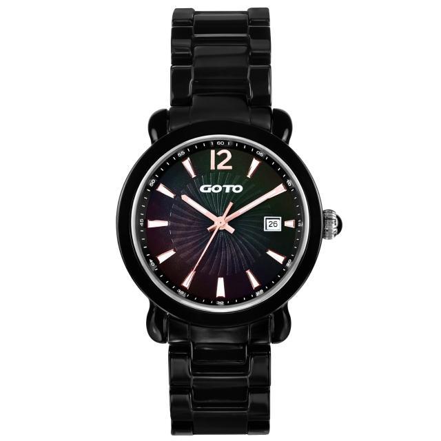 【GOTO】躍動元素時尚陶瓷腕錶(黑玫瑰金 GC0167M-33-V41)