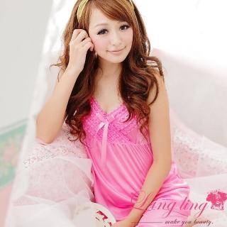 【lingling春夏款】A664柔情蜜意層疊蕾絲二件式睡衣組(愛戀粉)