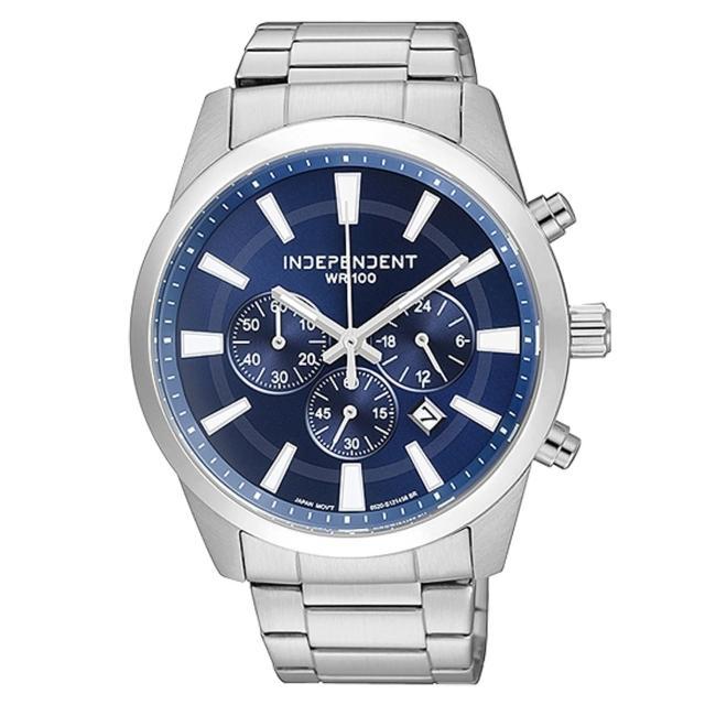 【INDEPENDENT】低調鋒芒三環日期都會腕錶(銀藍 BA4-116-71)