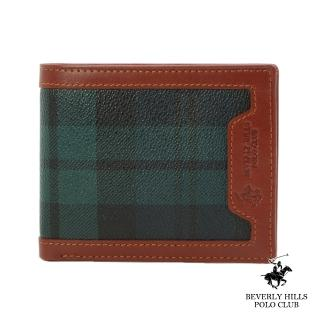 【B.H. POLO】比華利保羅翻式六卡短夾(綠格/BH-2064)
