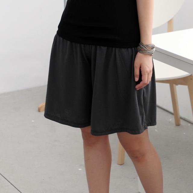 【衣心衣意中大尺碼】日系休閒-顯瘦寬版口袋褲裙(黑-灰SD4A3061)
