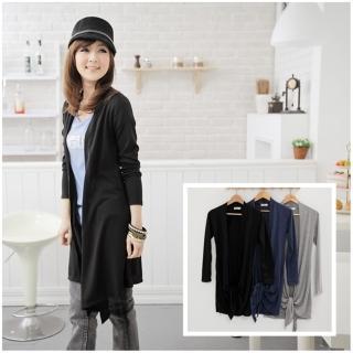 【衣心衣意中大尺碼】顯瘦身材.百搭針織長版薄外套(藍-黑-灰SI1A3102)