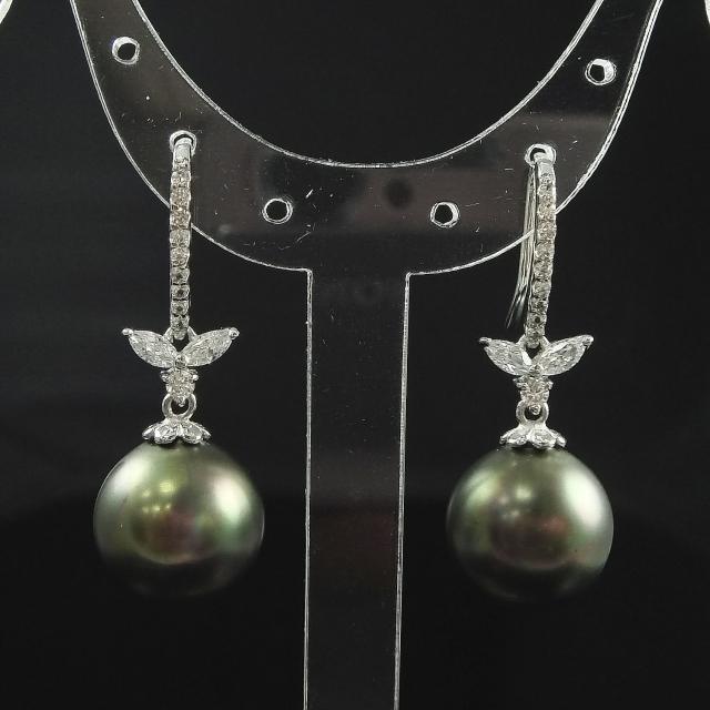 【蕾帝兒珠寶】貴族品味黑色貝殼珍珠耳環