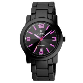 【MIRRO】愛戀風潮時尚都會陶瓷腕錶(黑粉紅 6919G-451-BP)