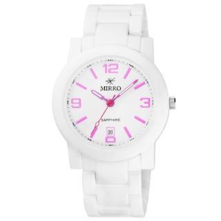 【MIRRO】愛戀風潮時尚都會陶瓷腕錶-白粉紅(6919G-4515-WP)