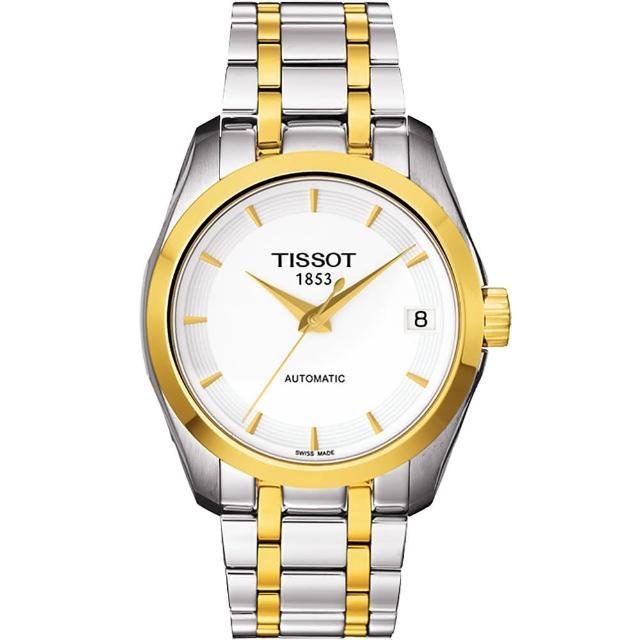 【TISSOT】Couturier Lady 優美機械腕錶-白/半金(T0352072201100)