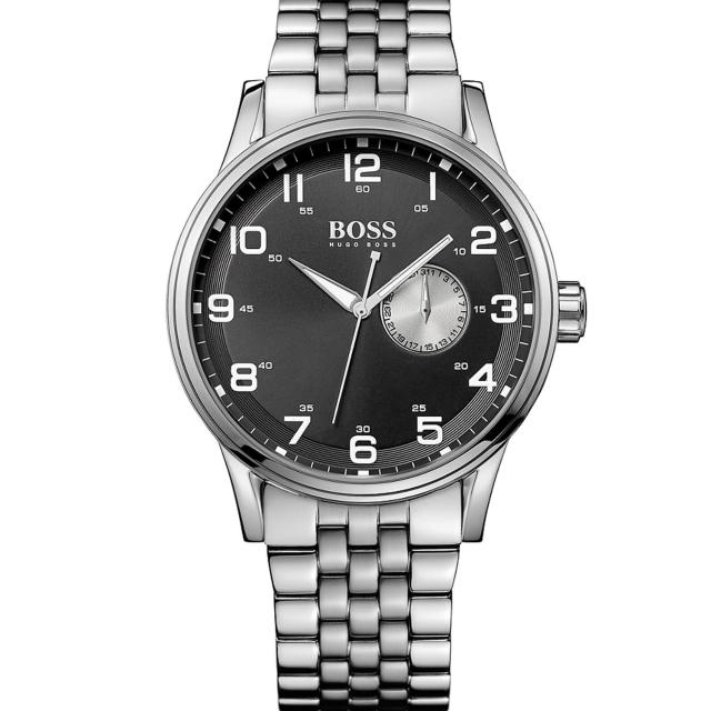 【Hugo Boss】超質感都會腕錶/黑面/鋼帶(HB1512724)