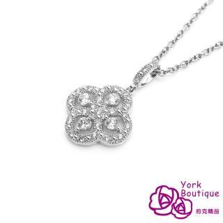 【約克精品】春之花方晶鋯石包銠金項鍊