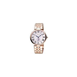 【Standel】詩丹麗羅馬小秒針腕錶-白/玫塊金(8S0232RS)