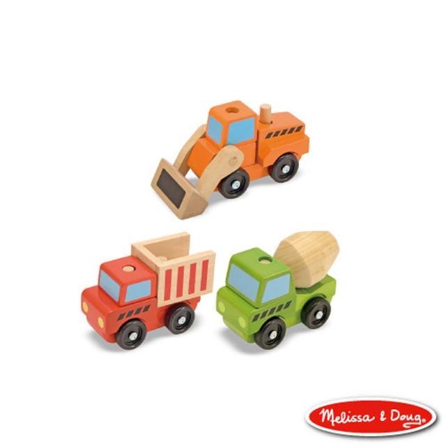 【美國瑪莉莎 Melissa & Doug】疊疊樂系列 – 木製工程積木組合車