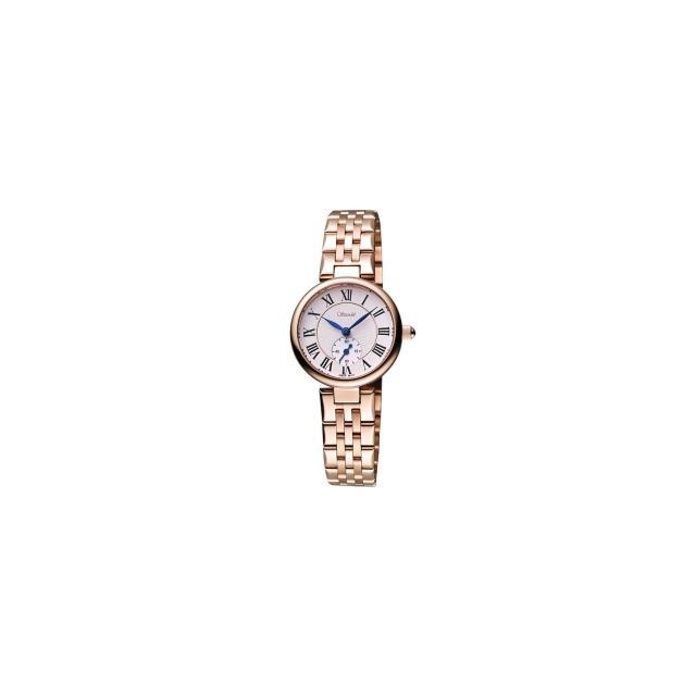【Standel】詩丹麗羅馬小秒針女錶-白/玫塊金(8S0222RS)