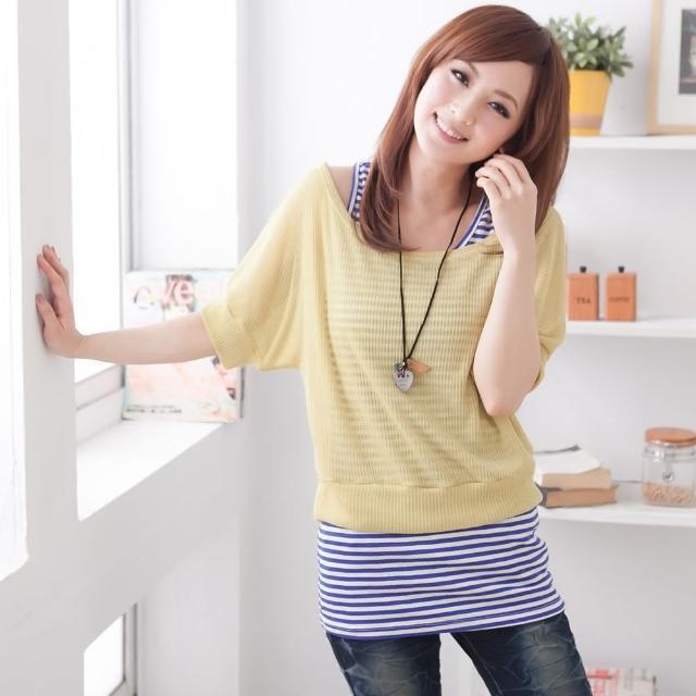 【衣心衣意中大尺碼】百配好搭   玉米針織布短版寬鬆上衣(黑-藍-黃SS1A3128)