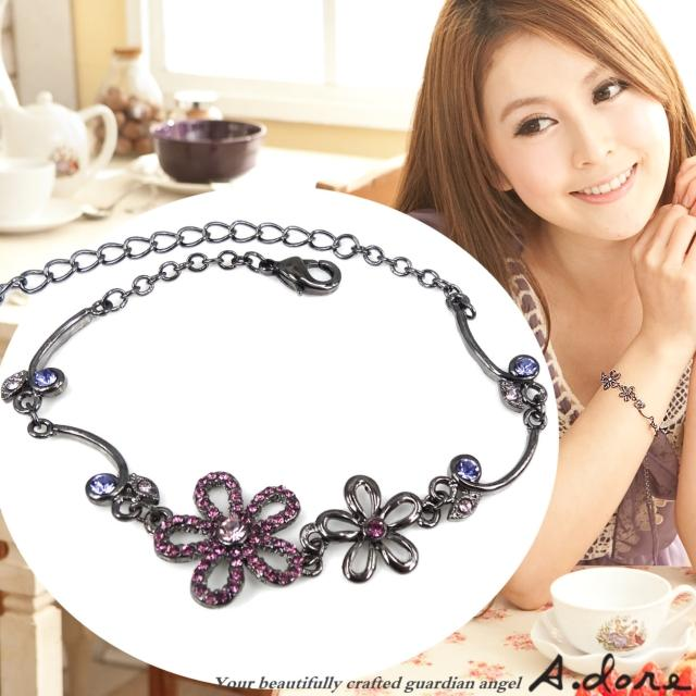 【A.dore】絢麗五瓣水晶花葉˙鑽飾手鍊(黑金˙羅蘭紫鑽)