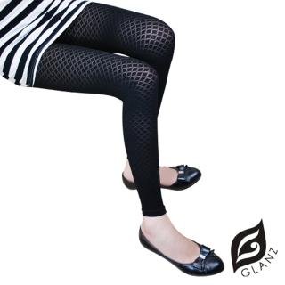 【GLANZ 格藍絲】320丹 韓版塑身美腿內搭九分襪(優美細格子紋)