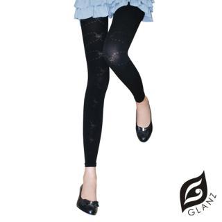 【GLANZ 格藍絲】320丹 韓版塑身美腿內搭九分襪(甜美彩結花紋)