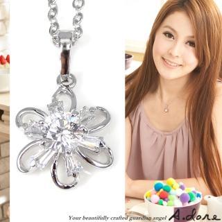 【A.dore】花之芳華˙梯型鑽飾花朵項鍊(銀白K)