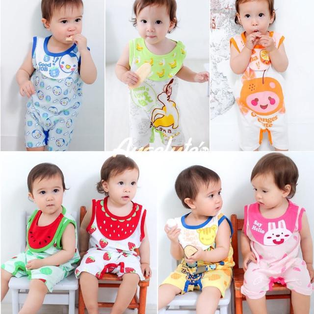 【baby童衣】卡通可愛嬰兒背心平哈 爬服連圍兜 31231(共七色)
