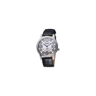 【Ogival】愛其華 時來運轉珍珠貝晶鑽腕錶-白貝/黑(3355DGS皮)