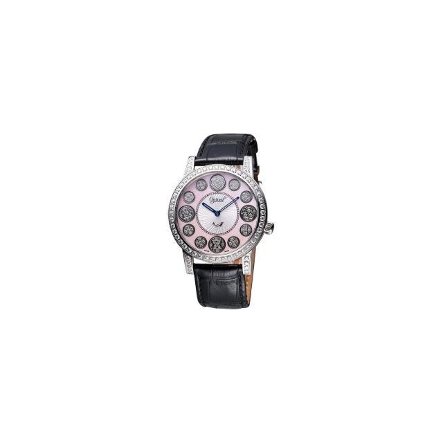 【Ogival】愛其華 時來運轉珍珠貝晶鑽腕錶-粉貝/黑(3355DGS皮-粉)